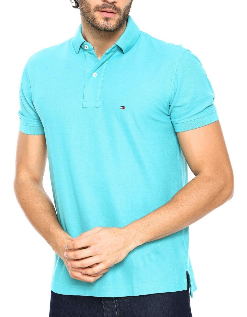 camisa polo tommy hilfiger masc cust fit azul claro original. Carregando  zoom. 0882e50dbceff