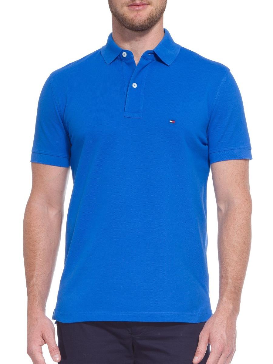 camisa polo tommy hilfiger masc cust fit azul royal original. Carregando  zoom. 7ab6c4eca3275