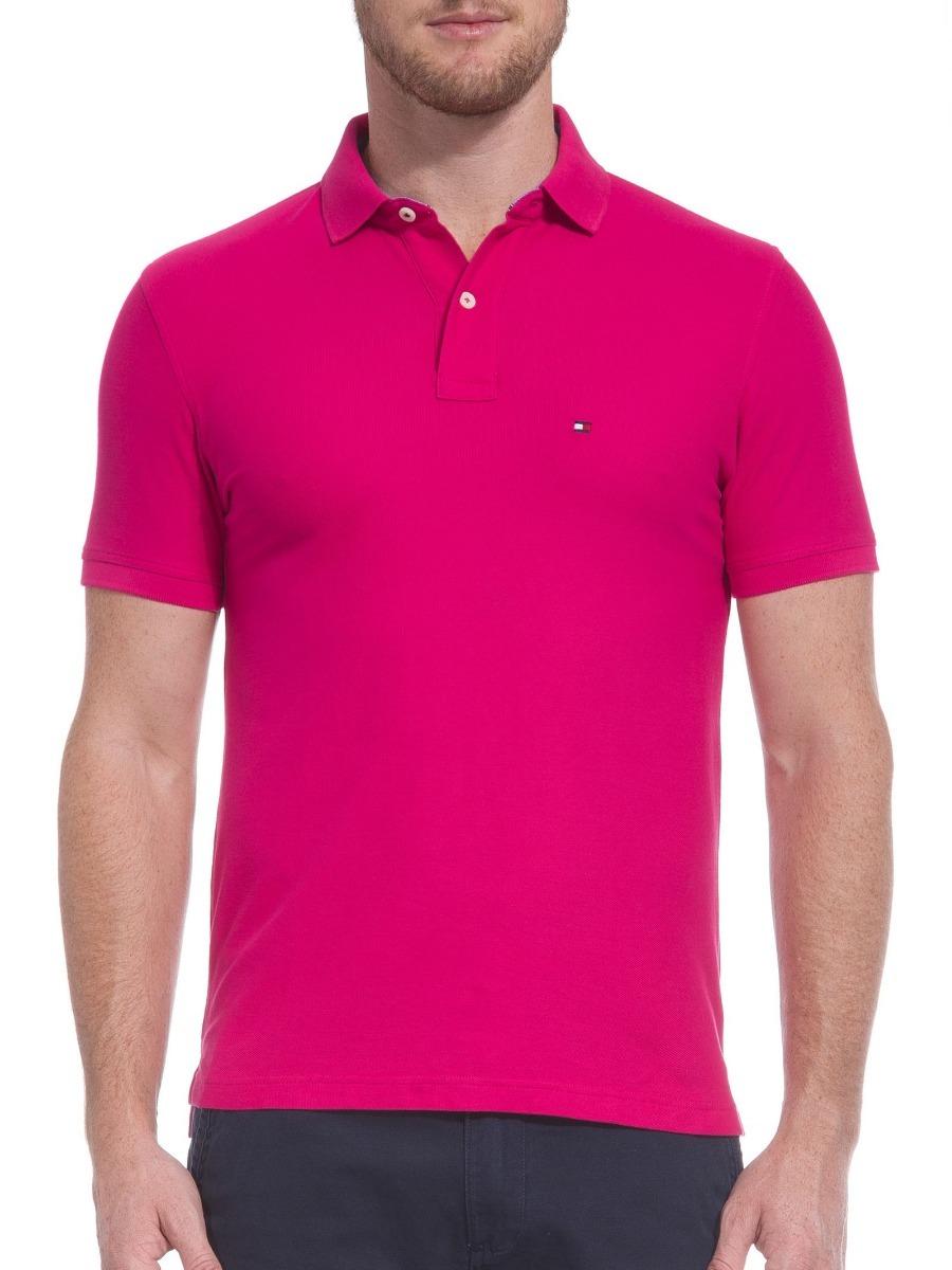 camisa polo tommy hilfiger masc custo fit rosa pink original. Carregando  zoom. 9722b90471dce