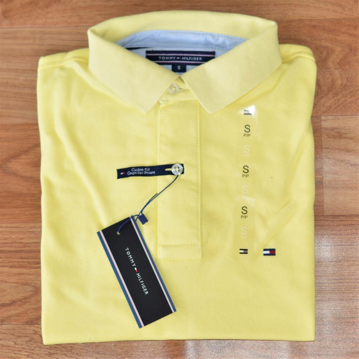 09f182b850 camisa polo tommy hilfiger masc custom fit amarelo original. Carregando  zoom.