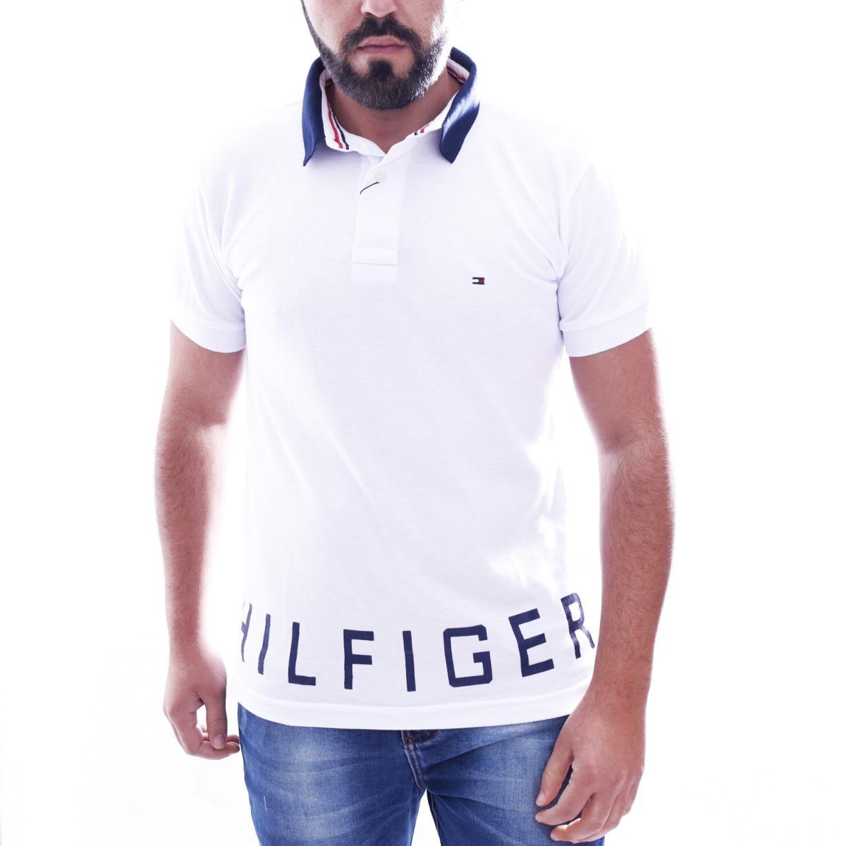 camisa polo tommy hilfiger masc custom fit branca estampada. Carregando zoom . 6b5c7ea15eb0a