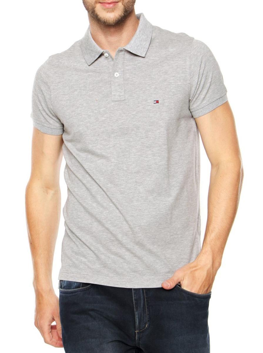 camisa polo tommy hilfiger mascul custom fit cinza original. Carregando zoom . 599bbe3ec57