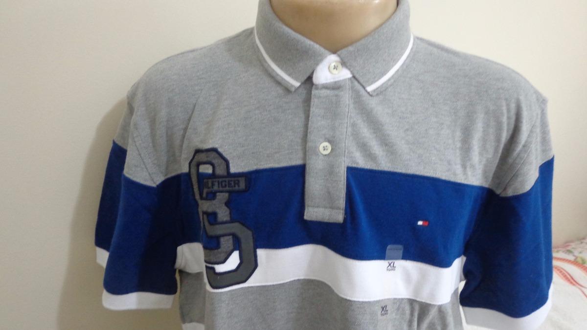 camisa polo tommy hilfiger tam gg cinza e branco original. Carregando zoom. 95d8568e9cfc9