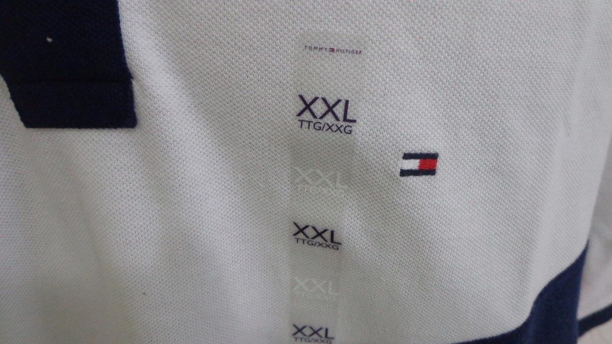 3ad225bd2 camisa polo tommy hilfiger tam xxl cor azul branca original. Carregando zoom .