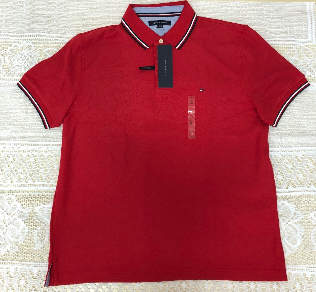 3ba22fa97 camisa polo tommy hilfiger - vermelha - original -p. entrega. Carregando  zoom.