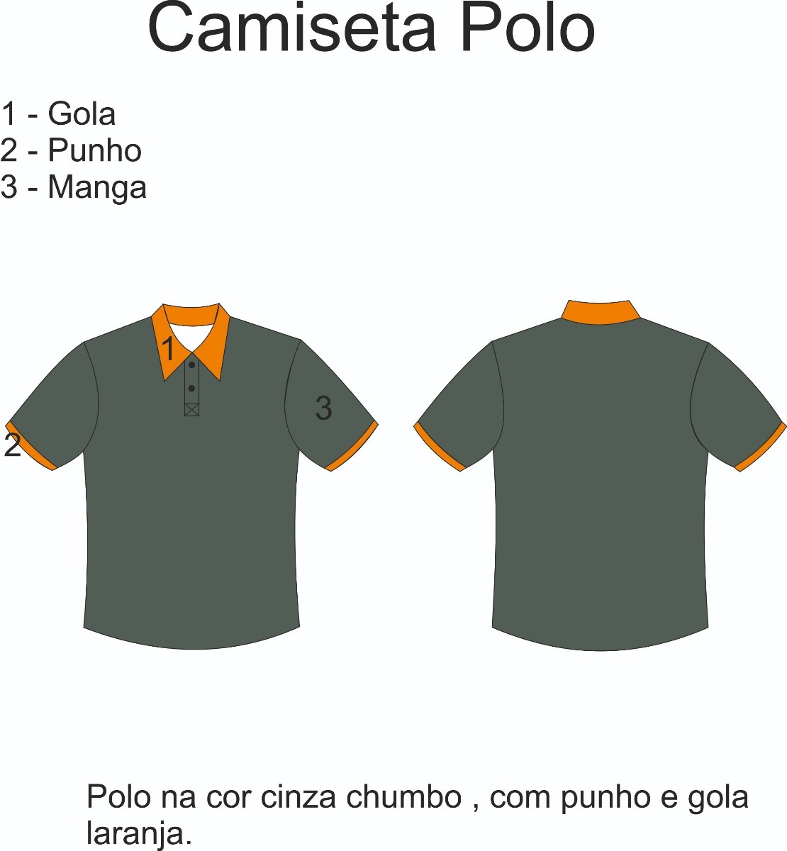 Camisa Polo Uniforme Bordado - Cor Grafite - R  140 f213a8d51ba95