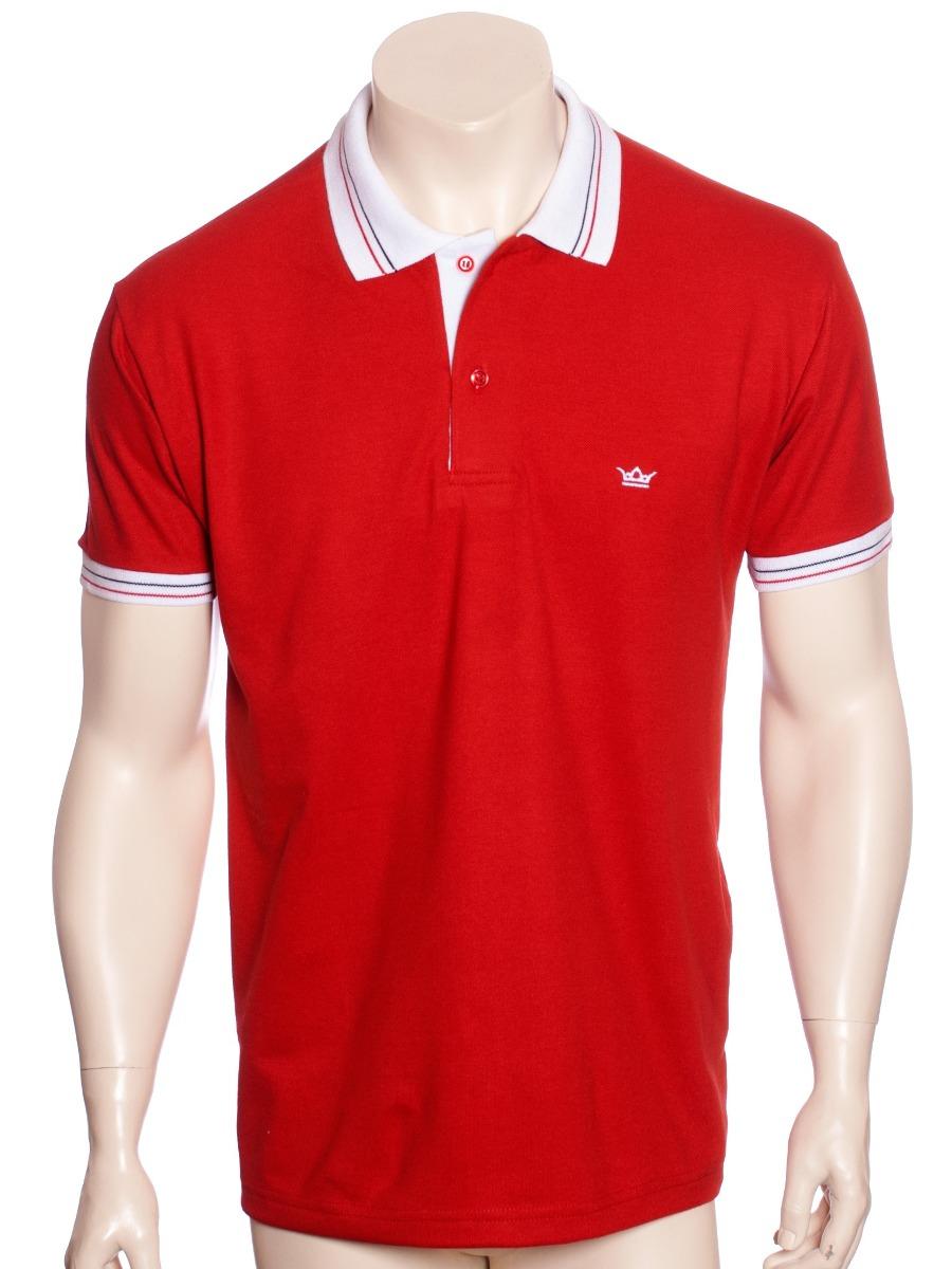 98032d5917 camisa polo vermelha com detalhe branco. Carregando zoom.