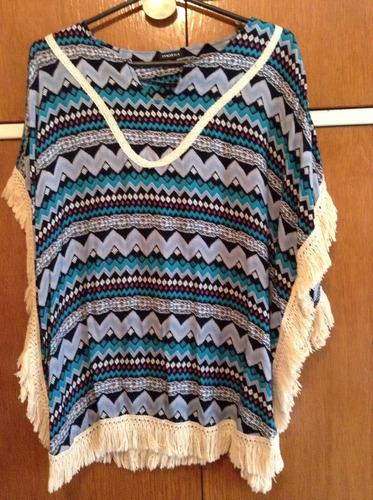 camisa poncho flecos rallas medium azul indigena algodon