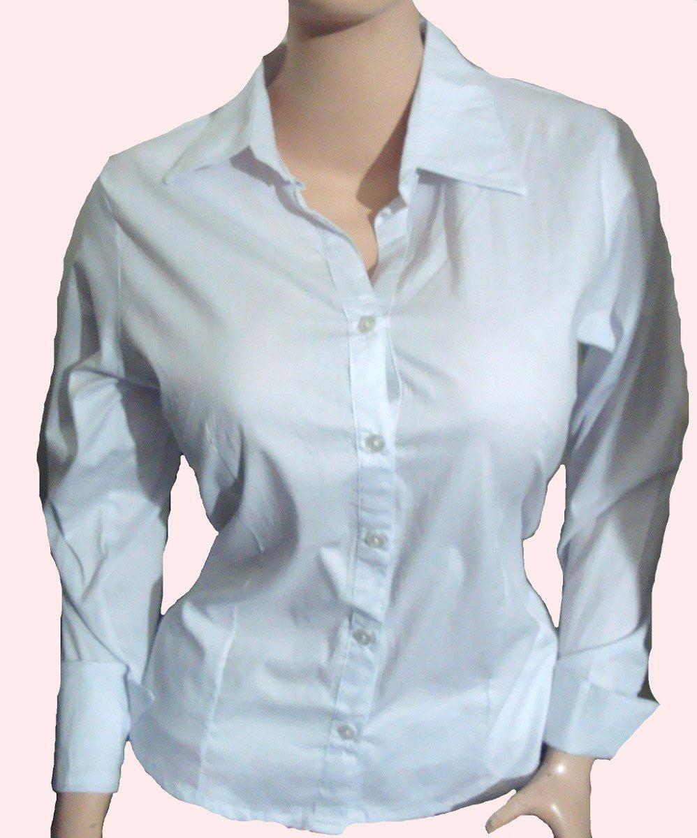 85ebaef2f9c38 Camisa Popelina Manga Larga Blanca Para Dama S