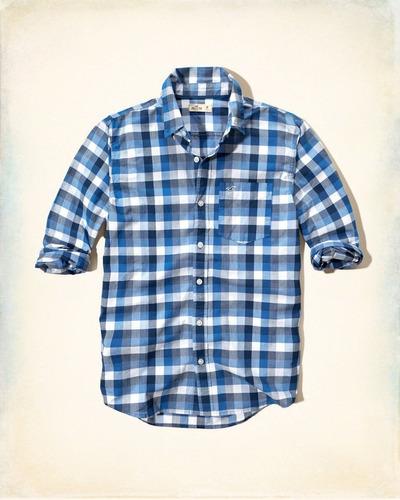 camisa poplín estampada hollister hombre talla m