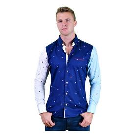 Camisa Porto Blanco Caballero Algodón Azul Rey Pez