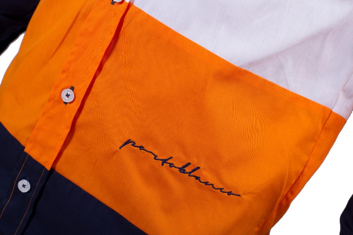 2ea9bd112e97c Camisa Porto Blanco Caballero Hombre Naranja El-241 -   449.00 en ...
