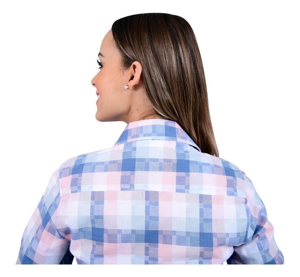 93d562f62e camisa porto blanco dama blanca algodon cuadros azul d-550. Cargando zoom.