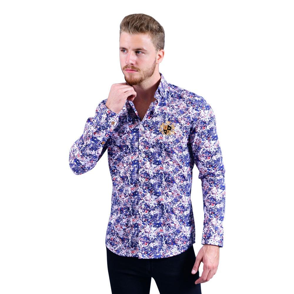 4929c92fb7f39 Vender uno igual · camisa portoblanco caballero algodon azul estampada  c-617. Cargando zoom.