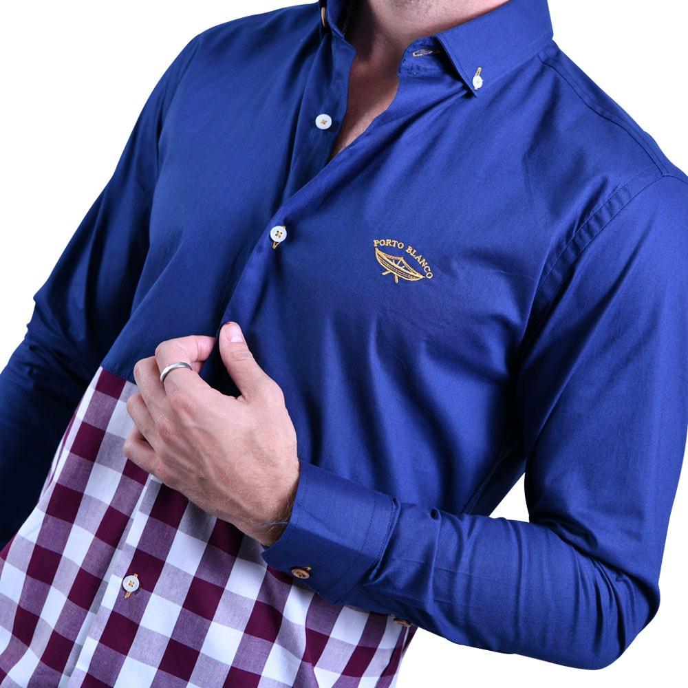 1e2d047e58577 camisa portoblanco hombre formal algodon azul cuadros e-668. Cargando zoom.