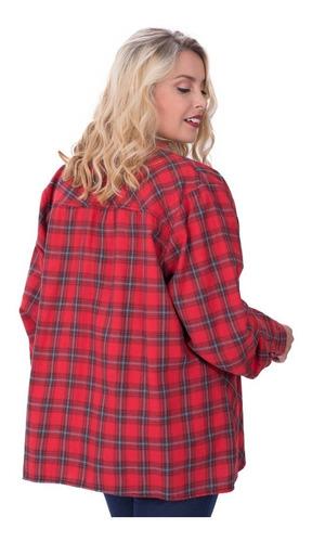 camisa portofem escocesa c/ojalillos en solapa. talles grand