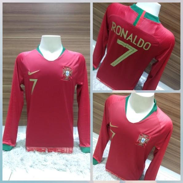 Camisa Portugal Ronaldo  7 Manga Longa Copa Do Mundo 2018 - R  139 ... 3265b79f5630e