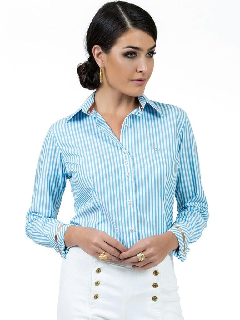 camisa premium feminina listrada azul principessa jennifer. Carregando zoom. c2ade8f1b248d