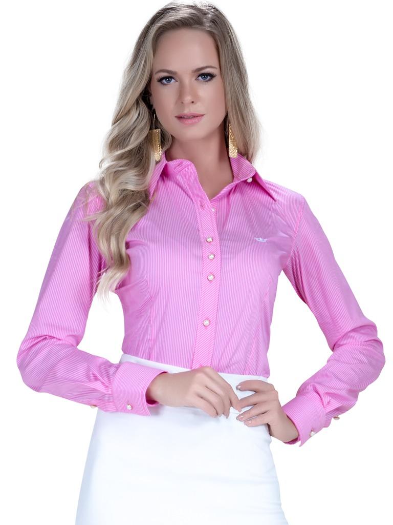 camisa premium feminina principessa andrea listrado rosa. Carregando zoom. 59b33e96b08b2