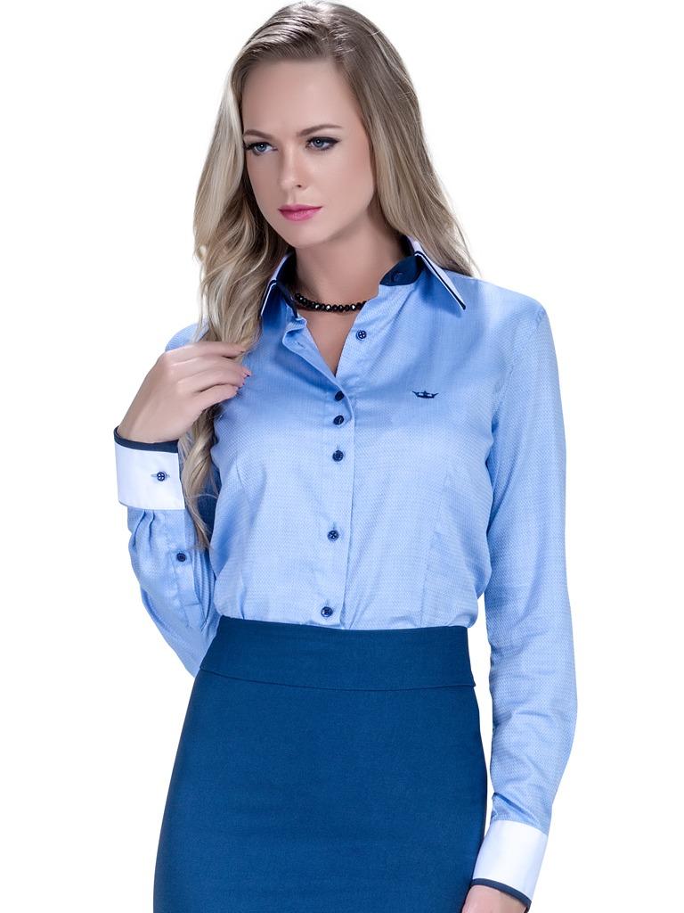 camisa premium feminina social azul principessa esther. Carregando zoom. 02310e635ca76