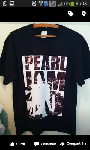 camisa preta algodão pear jam tamanho g