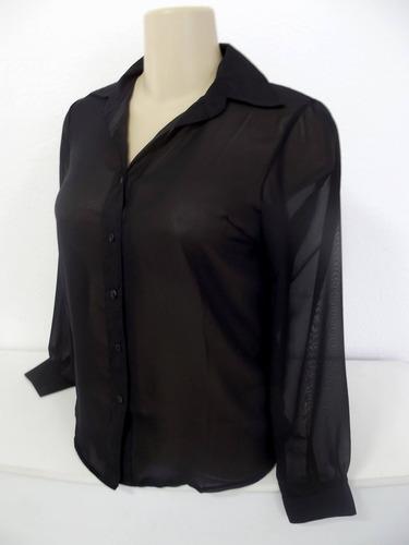 camisa preta feminina tam p ou m semi transparente social