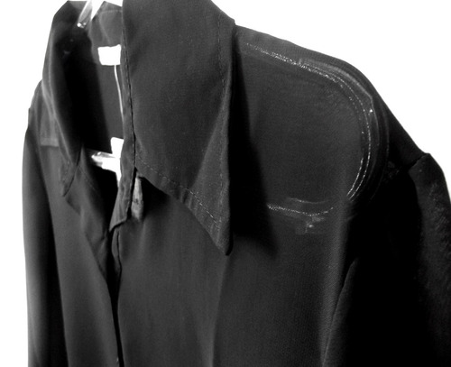 camisa preta feminina tam p semi transparente social