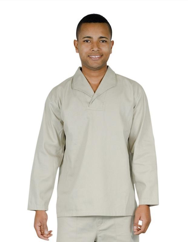 dc5901f2c1 camisa profissional em brim m l gola italiana areia. Carregando zoom.
