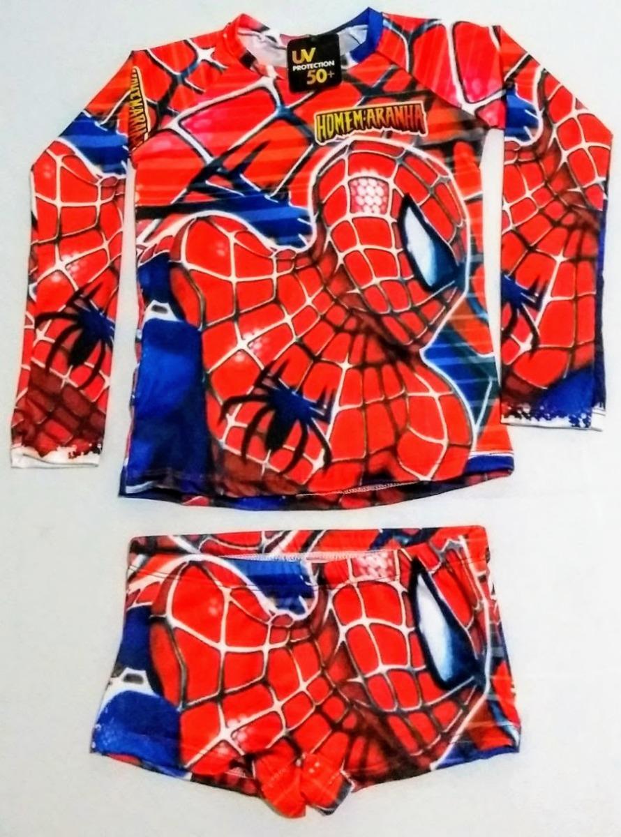 3d2bf81fe camisa proteção solar uv50 + sunga infantil homem aranha. Carregando zoom.