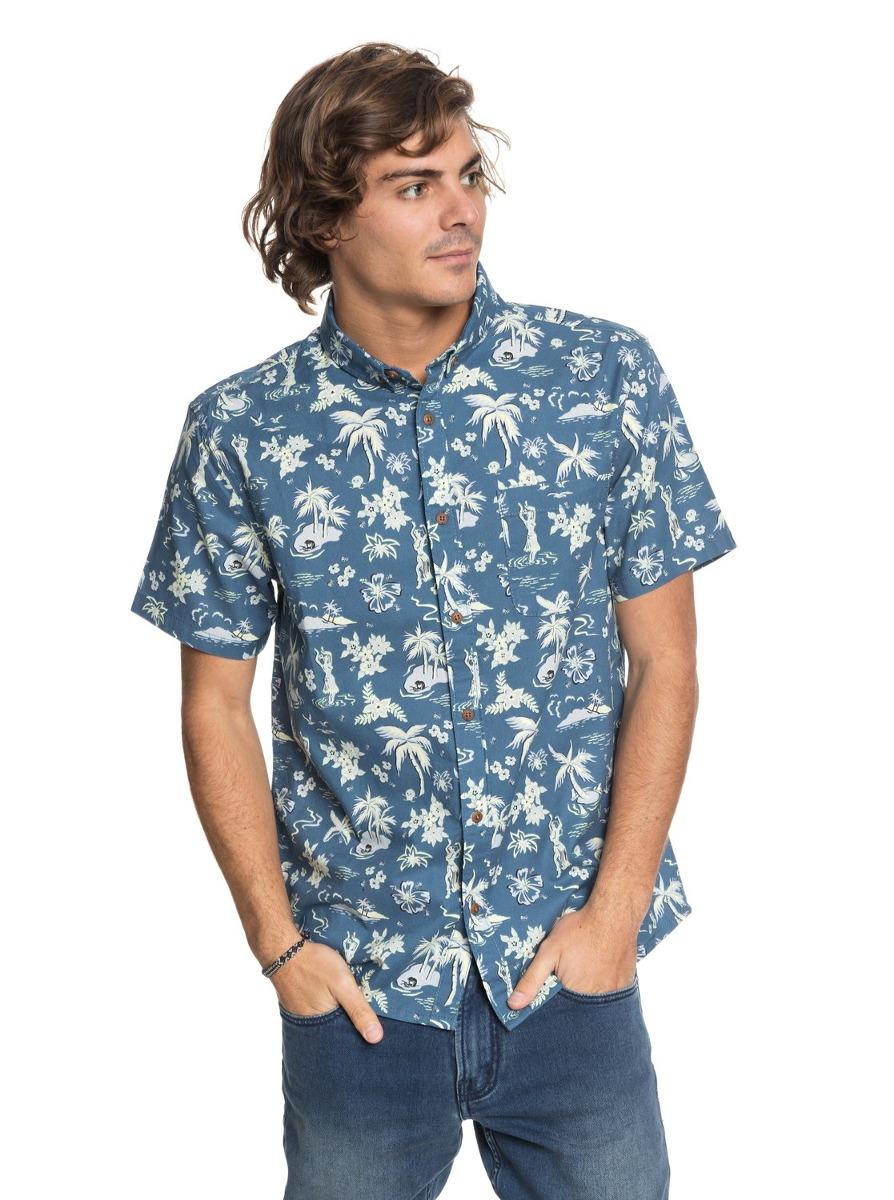 camisa quiksilver black hula - azul. Carregando zoom. 9666d95d707