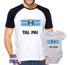 ff45afa0f414be Camisa Raglan + Body Grêmio Tal Pai Tal Filho Futebol