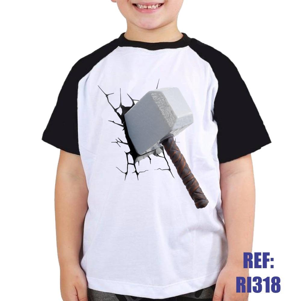Camisa Raglan Infantil Thor Martelo Heroi Desenho Kids R 30 90