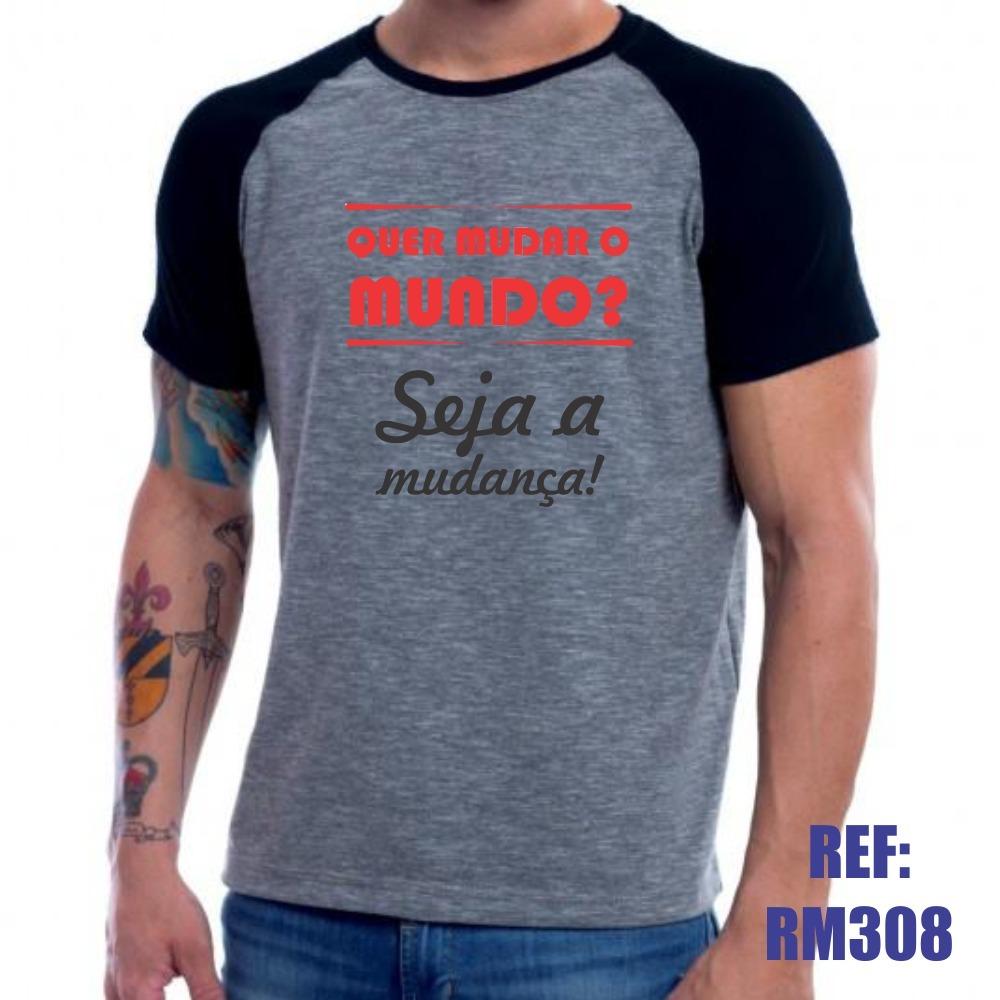 17f43d97fa04 camisa raglan quer mudar o mundo seja a mudança mescla. Carregando zoom.