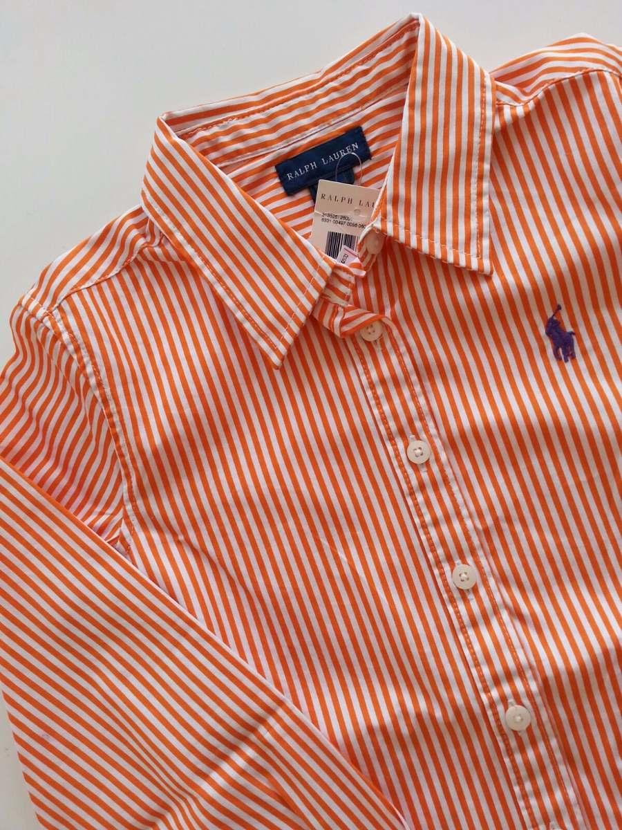 camisa ralph lauren social listras cor laranja - tam 7a. Carregando zoom. c495edc9f1a