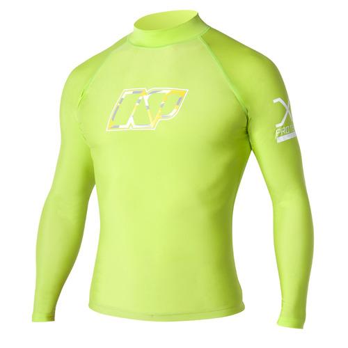 camisa rashguard manga larga jigsaw surf, verde, pequeña