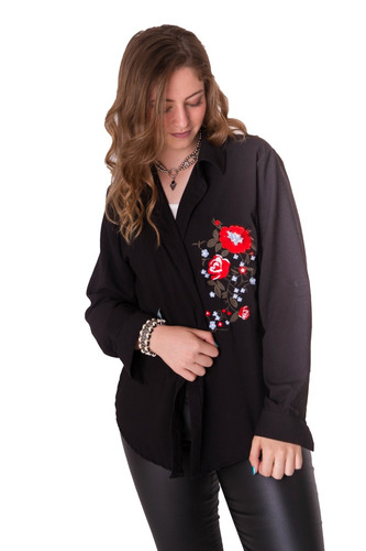 camisa rayon bordada flor manga larga 8 talles axioma