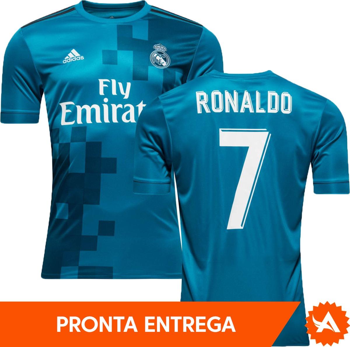 13a1804f4 camisa real madrid adidas third 2018 azul - nº7 ronaldo. Carregando zoom.