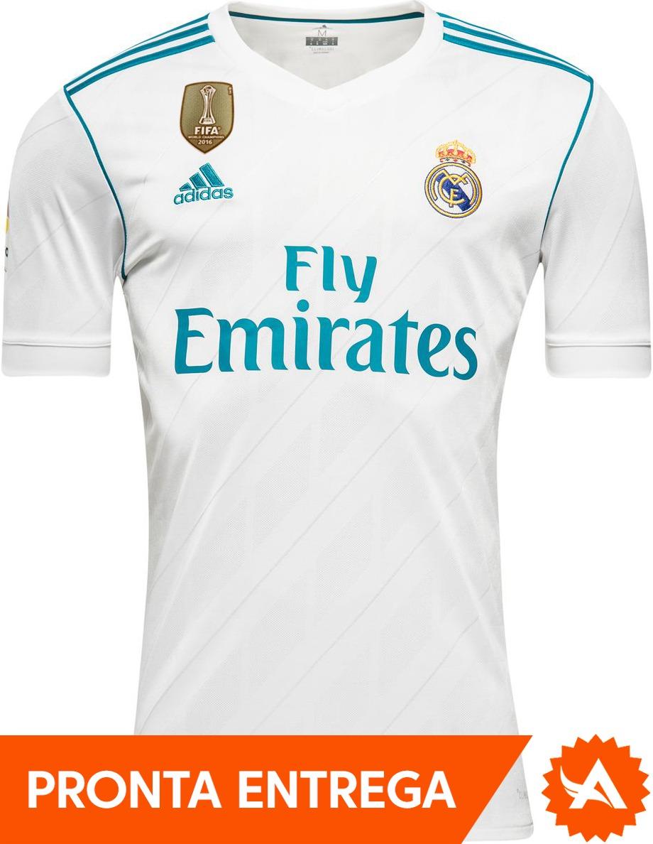 camisa real madrid branca 2017 - patch campeão mundial fifa. Carregando zoom . dfd49e8b4a914