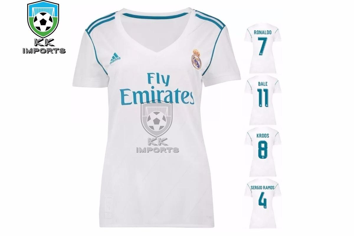 129762bcdd344 Camisa Real Madrid Feminina 2017 2018 Unif 1 Sob Encomenda - R  170 ...
