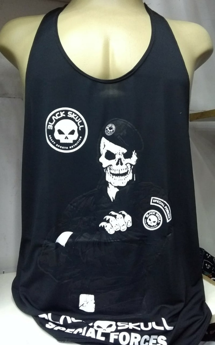 7aa06b6c45 Camisa Regata Cavada Black Skull Dry Fit Promoção - R  29