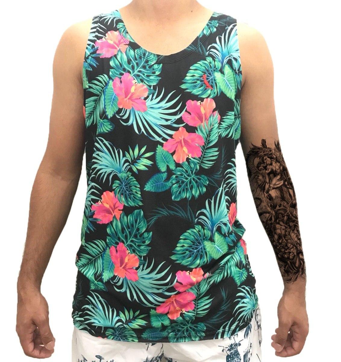 camisa regata masculina algodão estampada florida floral. Carregando zoom. 979bd95ff92