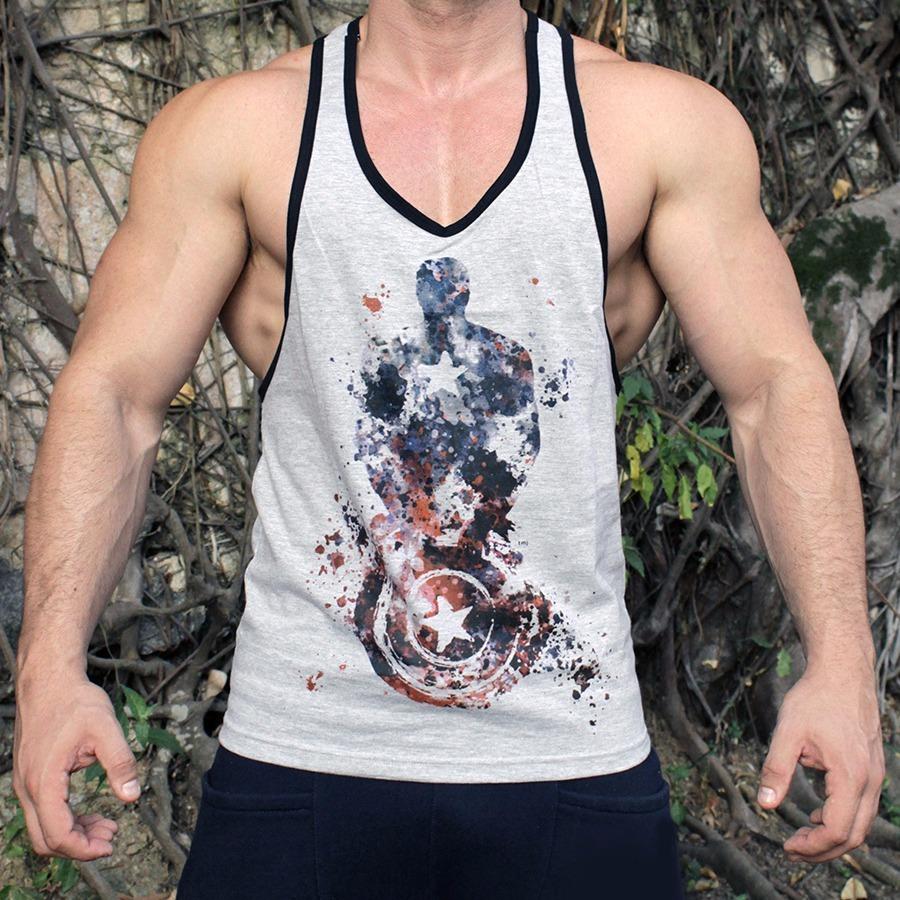 camisa regata musculação fitness crossfit capitão américa. Carregando zoom. eb6a89a6ce843