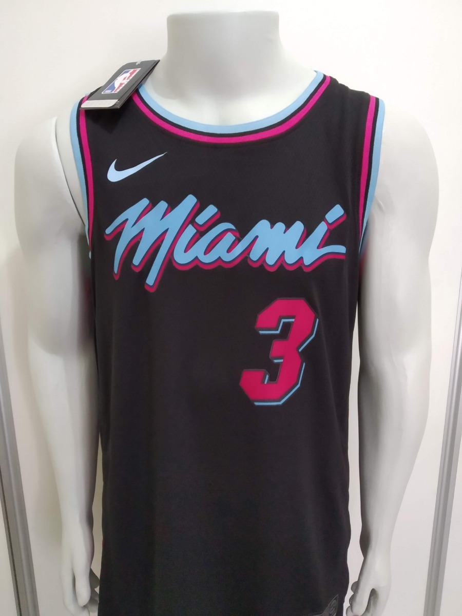 sports shoes be20b 4f13f Camisa Regata Nba Dwyane Wade Miami Heat The City Edition