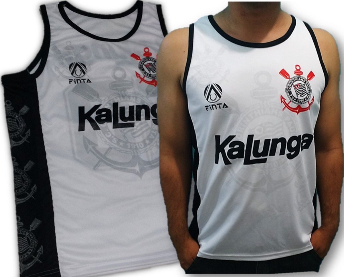 2b92f5a36 Camisa Regata Time Do Corinthians Retrô Kalunga Finta 2019 - R  33 ...