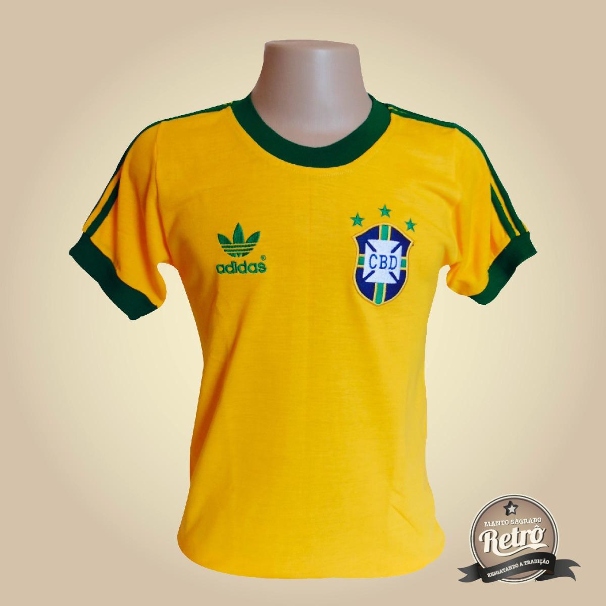 0fe8f34fec Camisa Retrô Brasil Seleção Brasileira 1978 - 100% Algodão ! - R ...