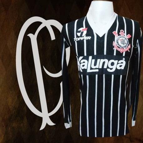 Camisa Retrô Corinthians Kalunga Preto Ml.decada De 80 - R  149 43e9f76ef3448