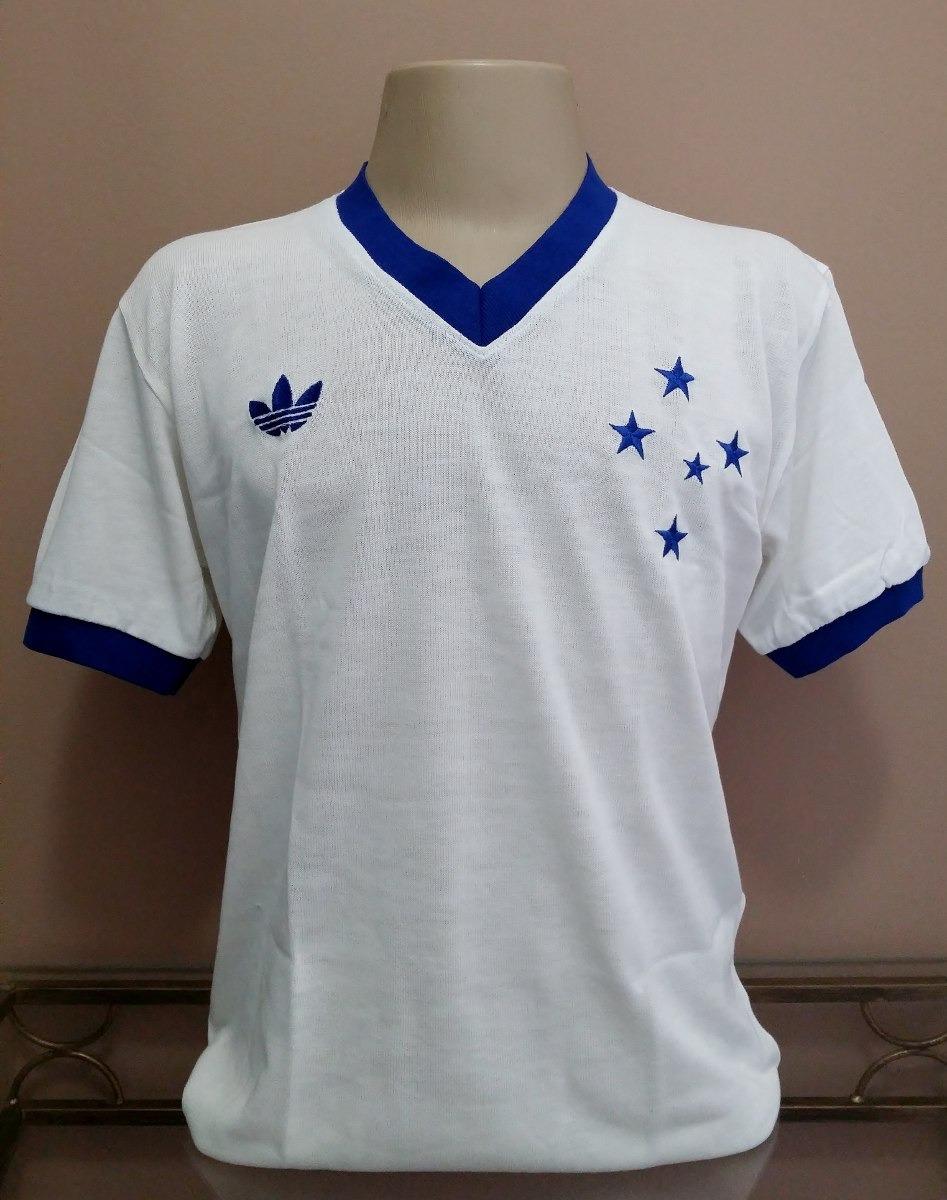 camisa retrô cruzeiro 1985 branca gola v - pronta entrega ! Carregando zoom. 41e6e8efe36d4