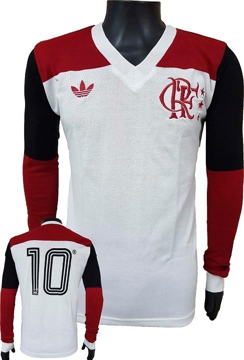 b0b0c348ee Camisa Retrô Flamengo 1981 Branca Blusa Camiseta Manga Longa - R ...