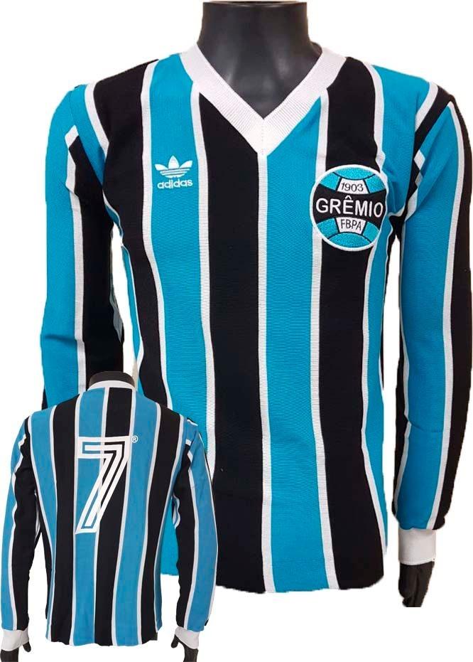 camisa retrô grêmio 1983 tricolor blusa mundial manga longa. Carregando zoom . 9db1937155033