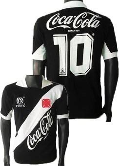 Camisa Retrô Vasco Gama 1989 Coca Cola Blusa Preta Camiseta - R  94 ... 0e901790e02cd